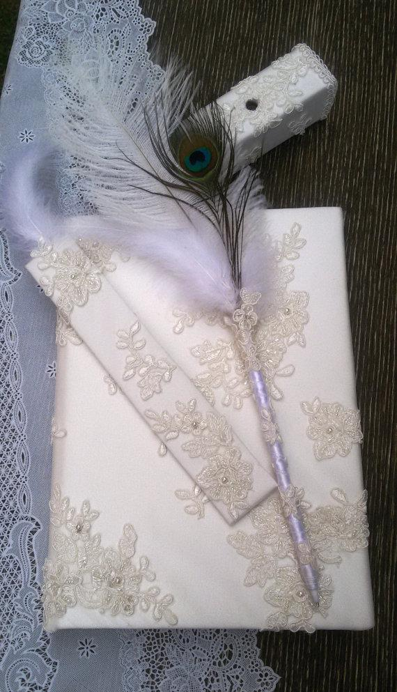 Wedding - Wedding, Paper Goods, Wedding Accessories, İvory lace guest book, Guest book and pen, Guest book and bookmarks