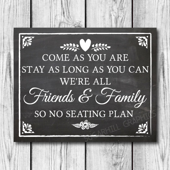 Chalkboard Wedding Sign Printable No Seating Plan Decor Signage Instant