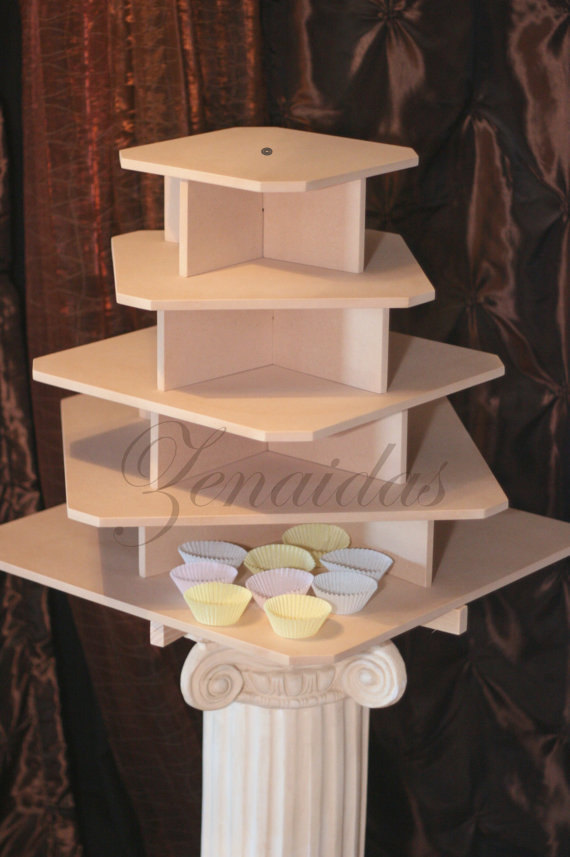 Cupcake Stand 5 Tier Large Square MDF Wood Threaded Rod And ...
