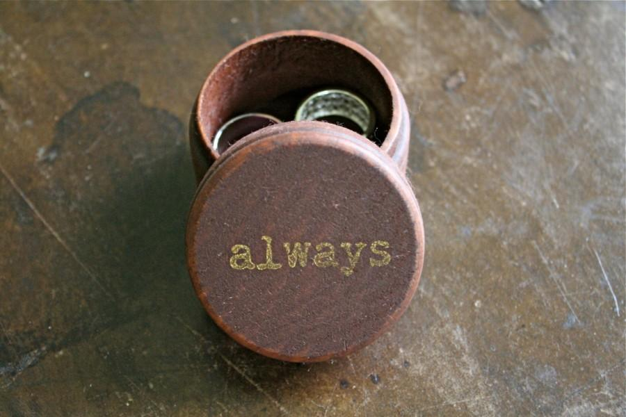 Wedding Ring Box Rustic Wooden Bearer Accessory Warming Small Round With Always Design In Gold