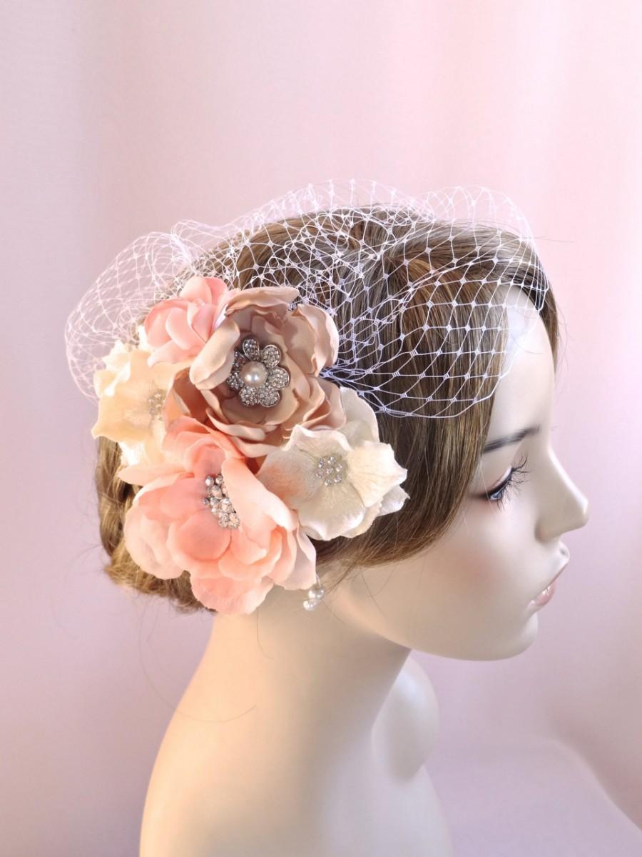 Свадьба - Birdcage veil with flowers, bridal headpiece, wedding veil,  bridal veil, wedding hair accessories, pink champagne wedding, Style 800