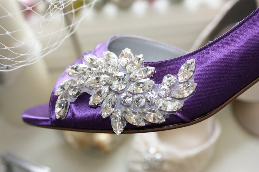 Hochzeit - Purple Wedding Shoes - Crystal Shoes - Purple Wedding - Purple Shoes - Purple Heels - Dyeable Shoes - Choose From Over 100 Colors - Parisxox
