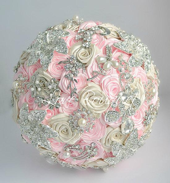 Hochzeit - Brooch Bouquet, Pink and Silver Wedding Brooch Bouquet, Bridal Bouquet, Jewelry Bouquet, Broach Bouquet, Wedding Decor, Crystal Bouquet