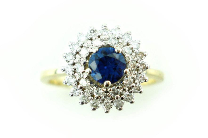 Mariage - Sapphire Engagement Ring, Unique Sapphire Ring, .35ct Sapphire Ring, Vintage, Antique, Art Nouveau Ring, Bridal Ring, Fast Free Shipping