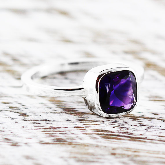 Mariage - Amethyst Statement Ring 14k White Gold Engagement Rings