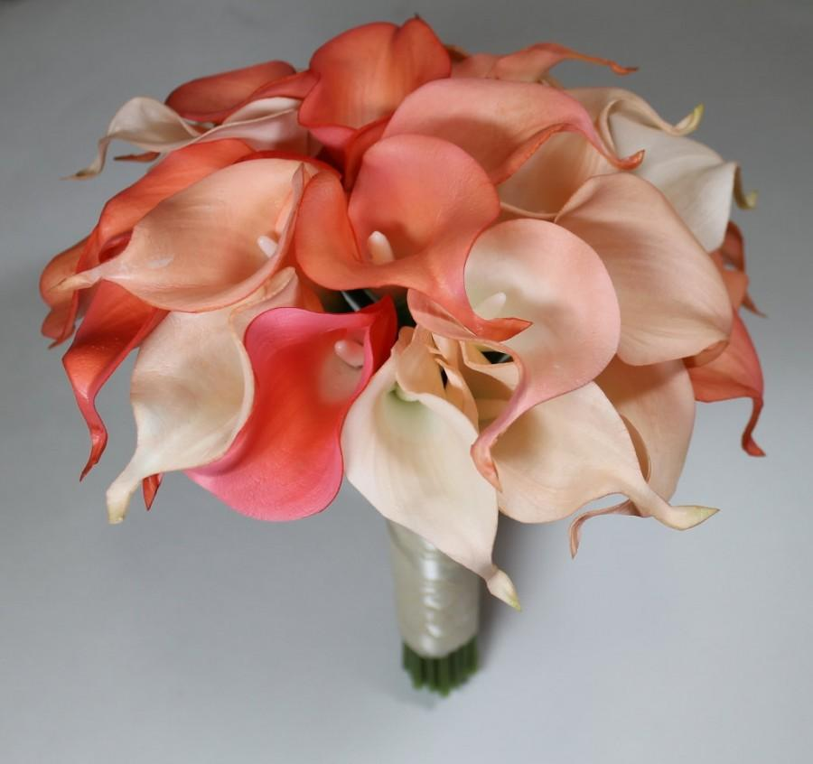 Wedding - Coral Wedding Bouquet Coral Calla Lilly Bouquet Bridal Bouquet Coral Bouquets Wedding Bouquets Bouquets  Calla Lily Wedding Bouquet