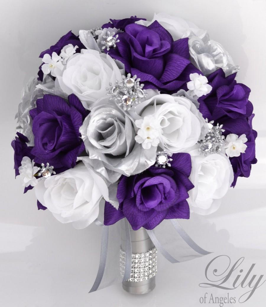Purple And White Wedding Flower Bouquets: 17 Piece Package Bridal Bouquet Wedding Bouquets Silk