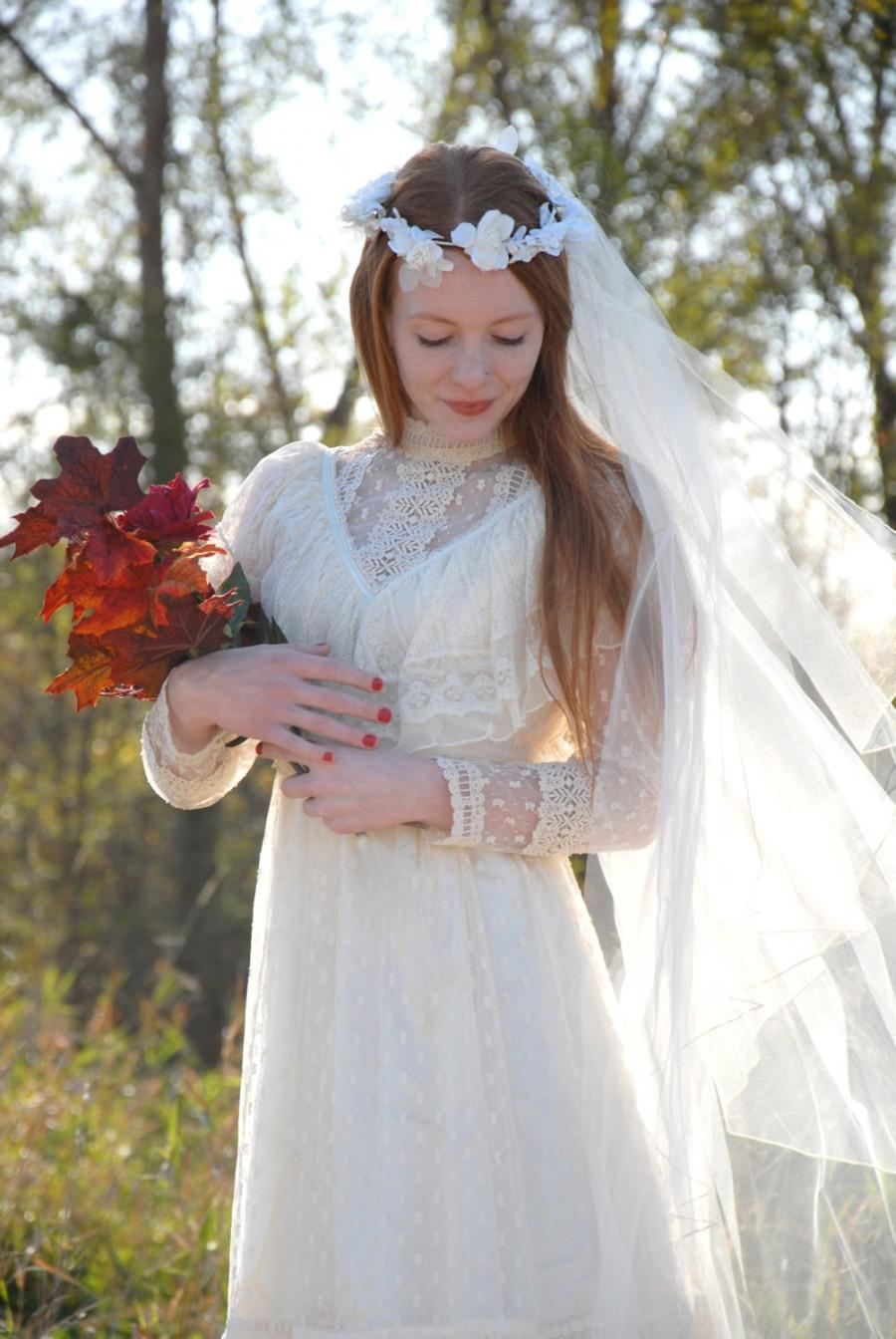 Wedding - Vintage long halo veil, ivory white boho wedding bridal headpiece tulle flowers faux pearls beads 1960s 1970s SALE