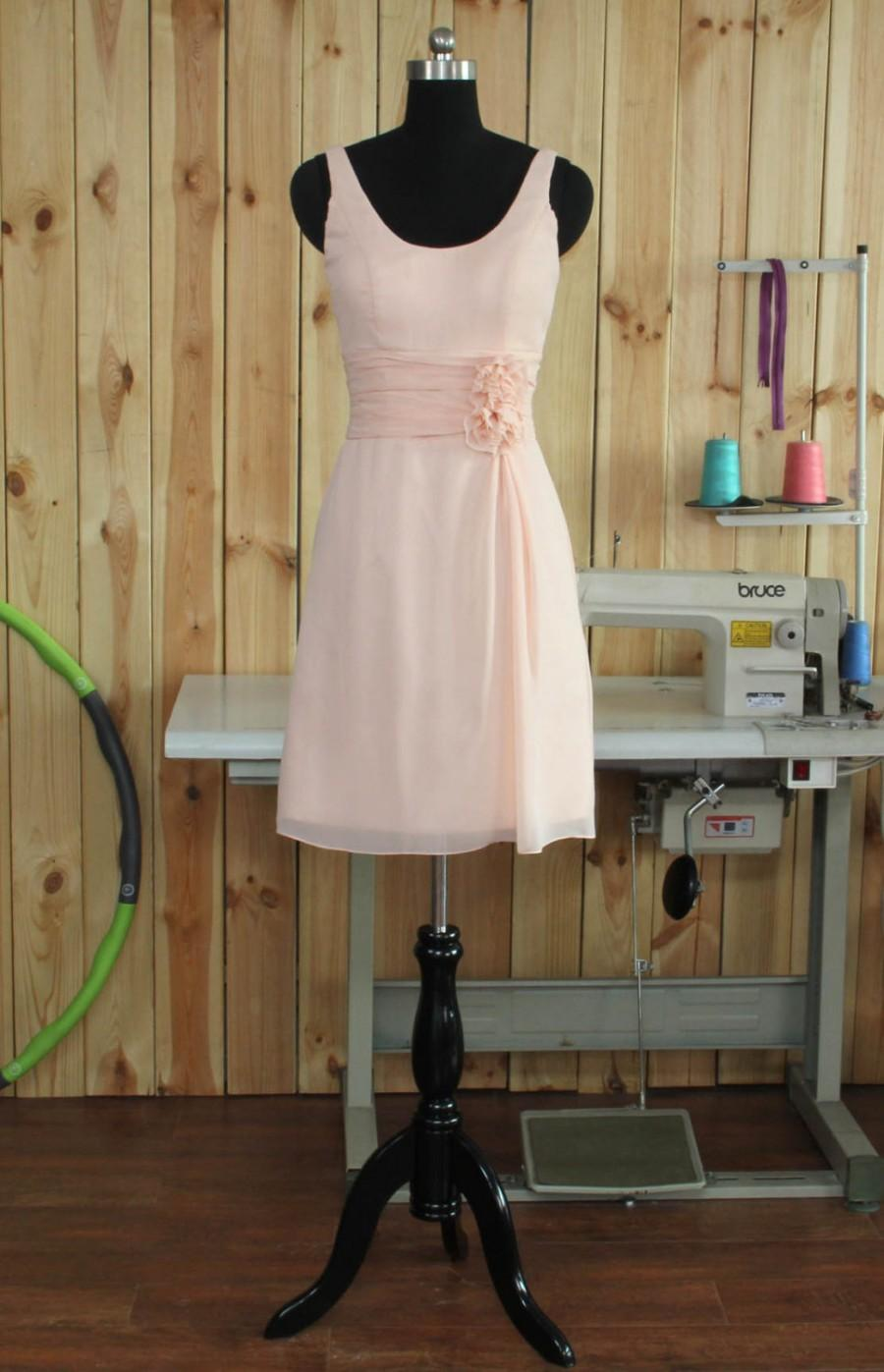 Wedding - Scoop Neck Pearl Pink Bridesmaid dress, Straps Wedding dress, Chiffon Party dress, Formal dress, Prom Dress,Woman Evening dress knee length