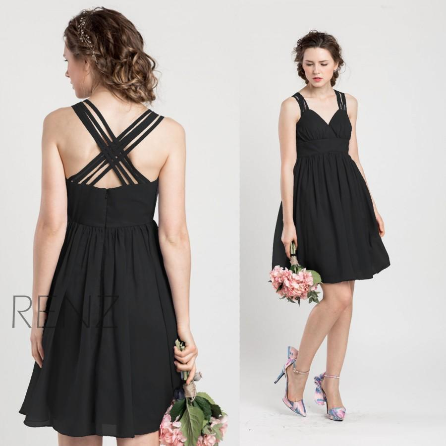Black Knee Length Chiffon Dress