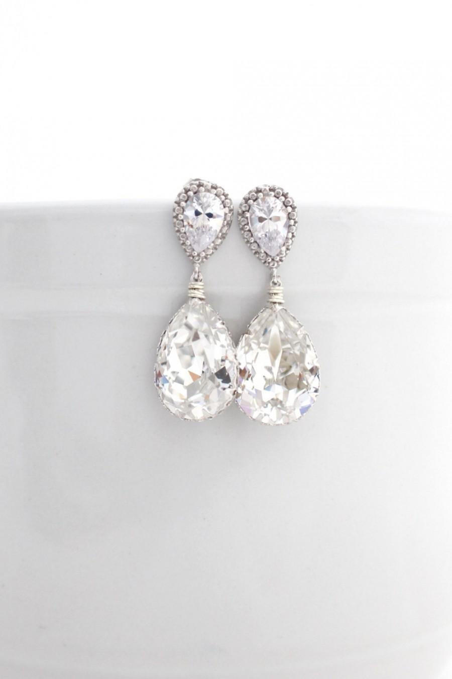 Mariage - Clear Bridal Swarovski Drop Earrings Sterling Silver Cubic Zirconia Jewelry for Bride Bridesmaid Post Dangle Wedding Earings Rhinestone