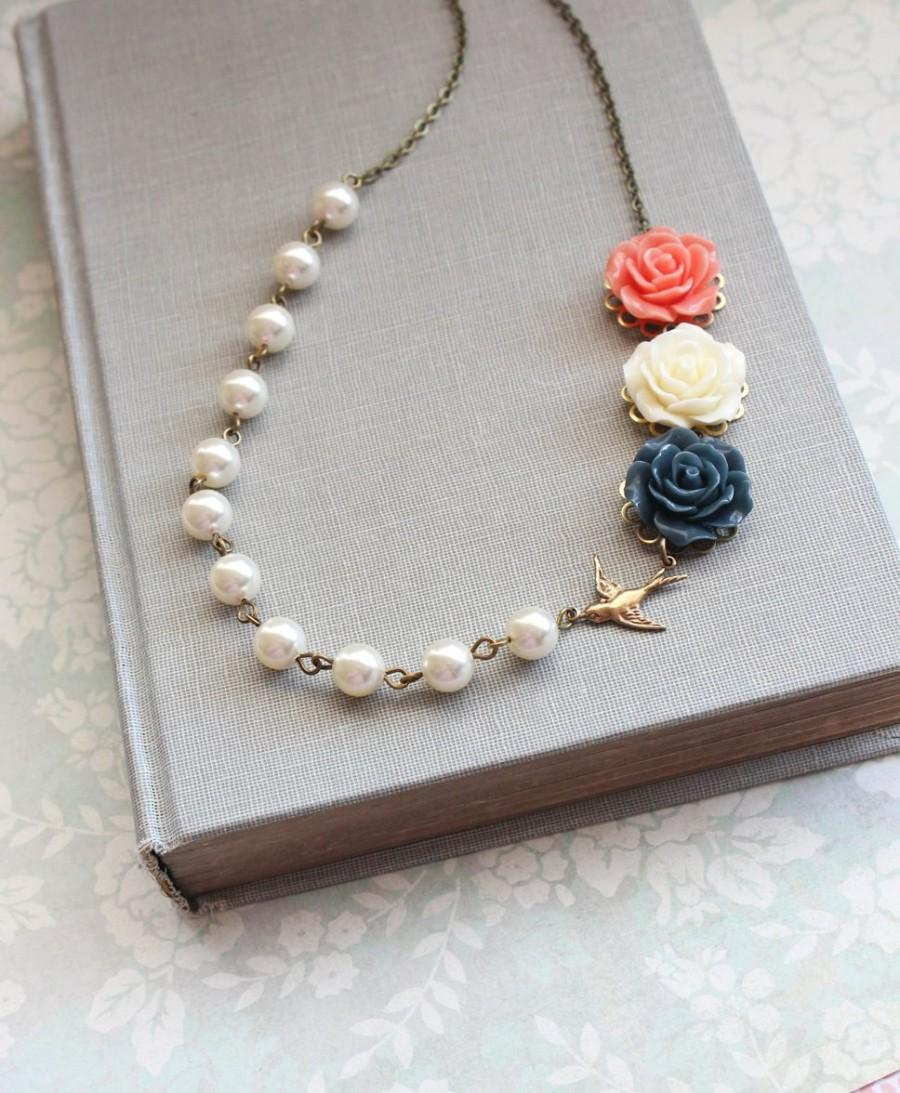 Mariage - Rose Necklace Coral and Navy Blue Asymmetrical Necklace Wedding Jewelry Pearl Chain Ivory Cream Pearls Floral Jewellery Bird Necklace