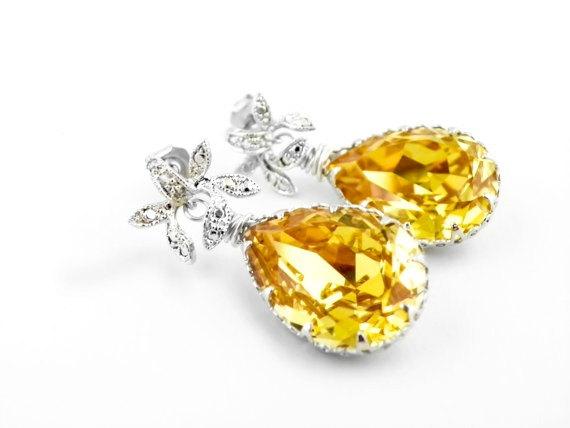 Mariage - Yellow Wedding Earrings, Statement Wedding Earrings, Wedding Teardrop Earrings, Bridal Statement Earring, Sunflower Wedding Earring, Jewelry