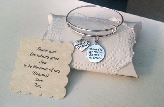 Mariage - Personalized Mother Of The Groom Gift, Mother In Law,  Thank You For Raising The Man Of My Dreams, Mother In Law Bracelet, Personalized Card
