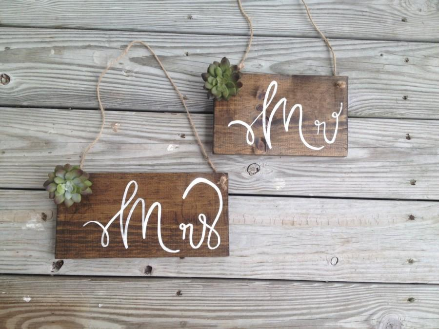Rustic Mr And Mrs Wedding Signs Succulant Chair Wooden Sign Barn Wood