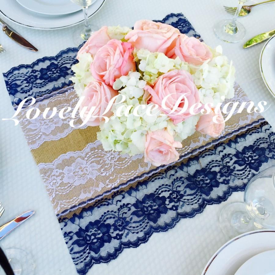"Mariage - Placemat /Centerpiece /Burlap & Navy/White Lace Placemat/Centerpiece /Square/16""x16""/ Table Decor, / Weddings/Navy Weddings decoration"