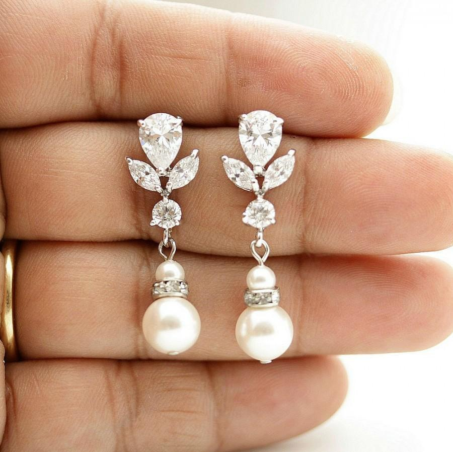 4c5a57d8d Wedding Jewelry Pearl Drop Wedding Earrings Cubic Zirconia Bridal Earrings  Swarovski Pearls Crystal Bridal Earrings, Isla
