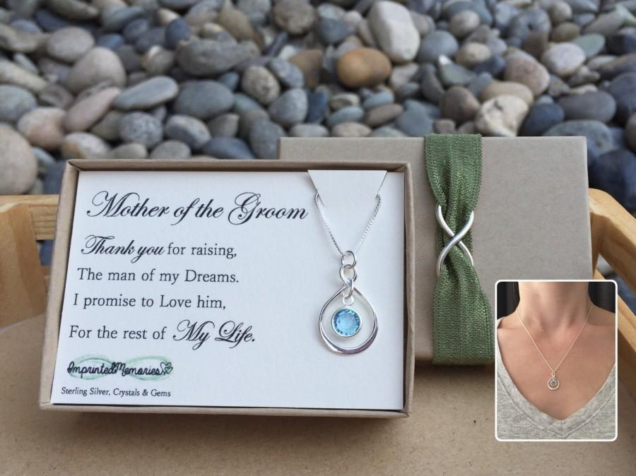 Mariage - Mother of the groom gift necklace - sterling silver crystal - thank you for raising the man of my dreams wedding - mother of the bride gift
