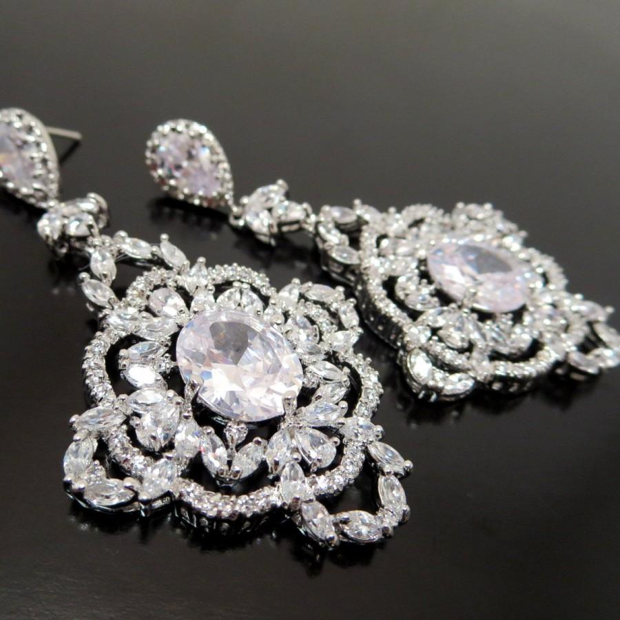 Wedding - Bridal earrings, Crystal wedding earrings, Bridal chandelier earrings, Statement earrings, Vintage style, Rose gold earrings, MADISON