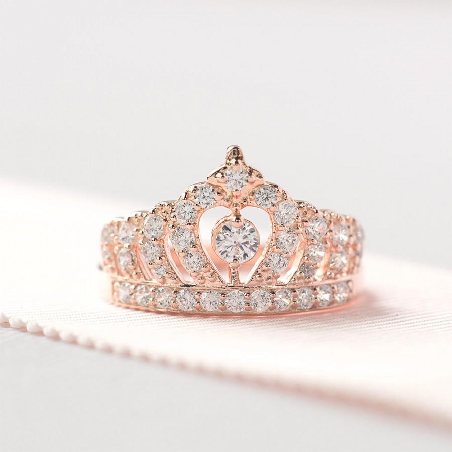 Mariage - Rose Gold Crown Ring - Princess Crown Ring - Sterling Silver Tiara Ring - Crown Engagement Ring - Unique Engagement Ring
