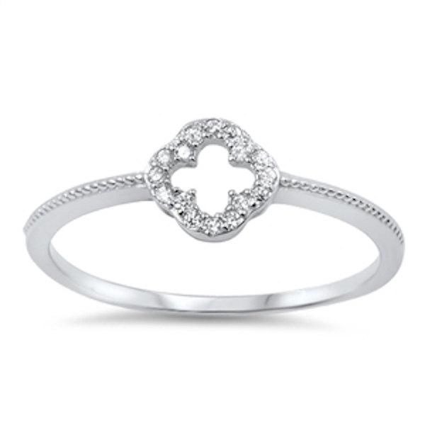 Mariage - Solid 925 Sterling Silver 0.20 CT Round Russian Clear Diamond White CZ Open Cross Ring Cross Jewelry Catholicism Christianity Religious Gift