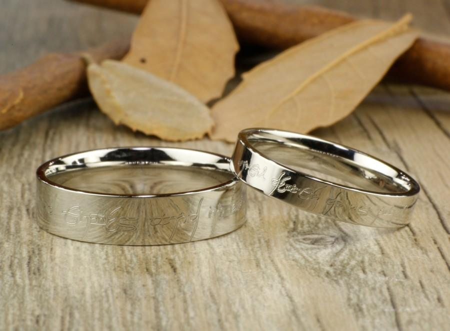 Handmade Flat Polish Custom Your Words In Elvish Tengwar Matching Wedding Bands Couple Rings