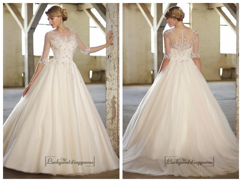 Wedding - Illusion Boat Neckline Three-Quarter Sleeves Embellished Wedding Dresses