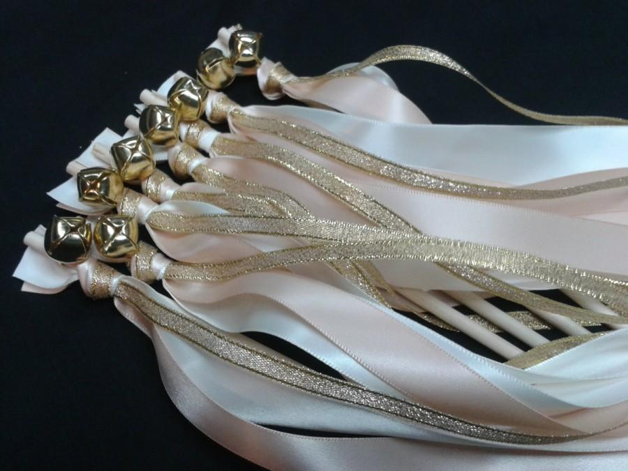 Mariage - 100 Blush Wedding Wands Triple Lace Ribbon Bells Gold or Silver Streamers