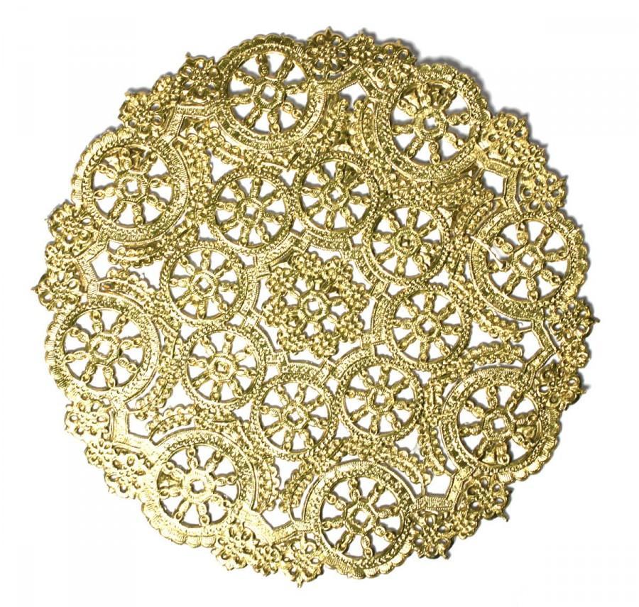 Свадьба - 50 Gold 8 inch paper doilies, metallic doilies, invitation trim, paper craft trim, party decoration