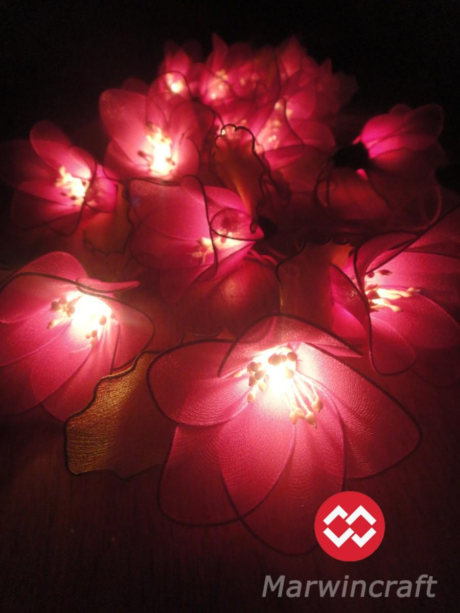 20 Pink Magenta Rain Lilly Flower Fairy String Lights Hanging
