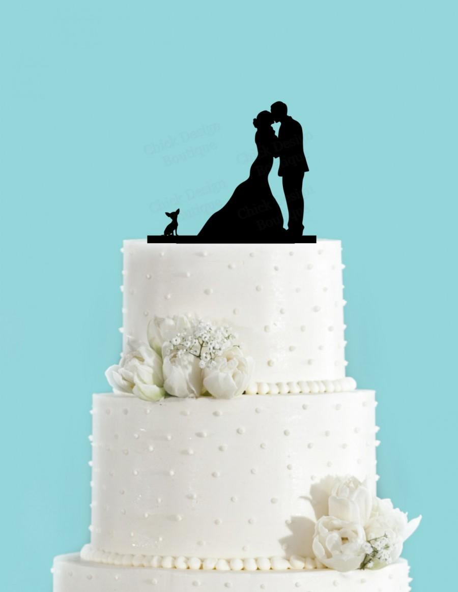 Hochzeit - Couple Kissing with Chihuahua Dog Acrylic Wedding Cake Topper