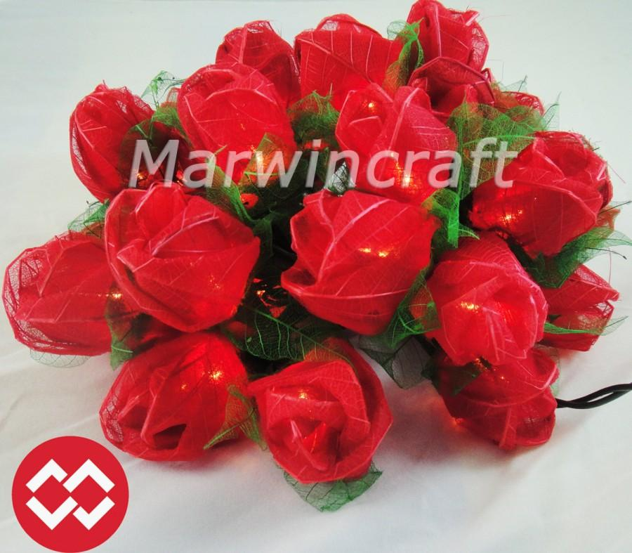 Mariage - 35 Red Rose Flower Fairy String Lights Wedding Party Patio Spa Floral Decor 3.5m