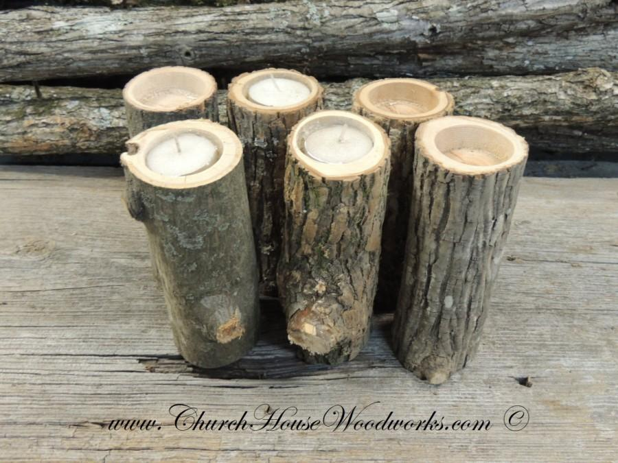 Grab Bag Of 10 Tall Tree Branch Candle Holders Rustic Wedding