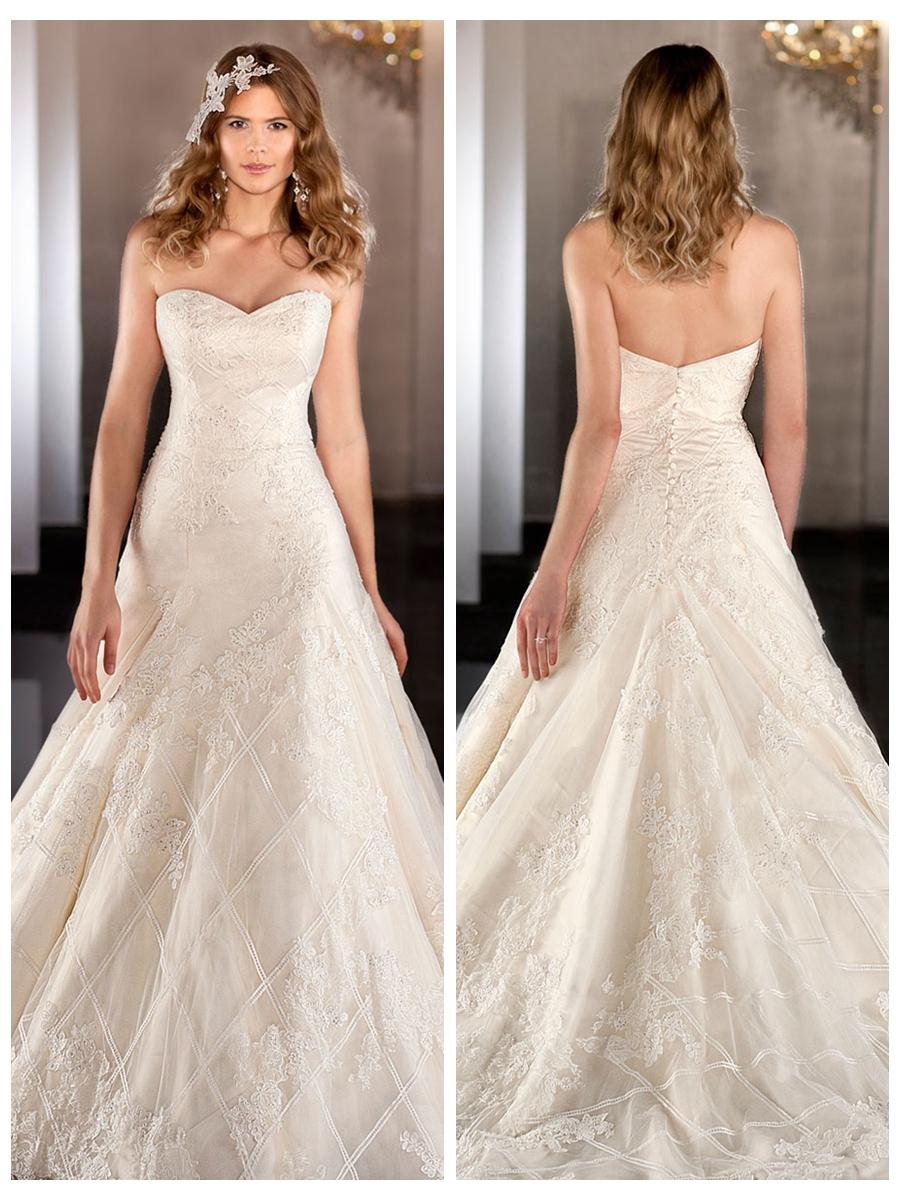 Wedding - Sweetheart Lace Appliques Cross Net A-line Wedding Dress