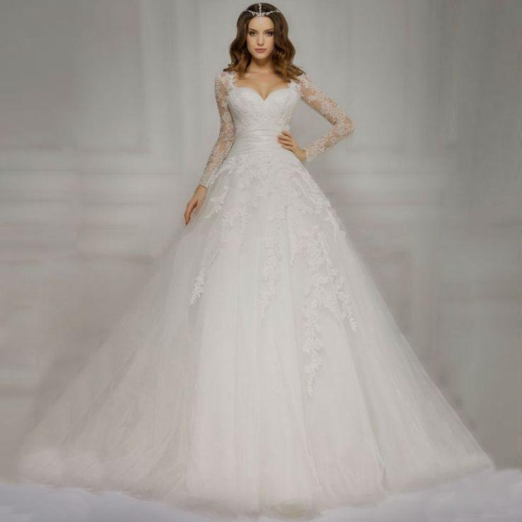 Свадьба - Sweetheart Lace Up Back Pleat Waist Chapel Train White Tulle A Line Lace Long Sleeve Wedding Dress