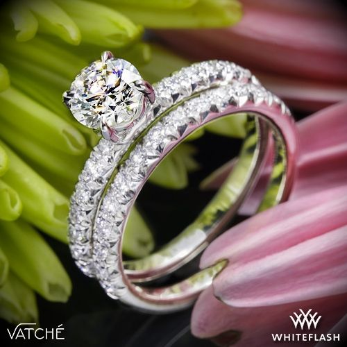 Mariage - Platinum Vatche 1533 Charis Pave Diamond Wedding Set