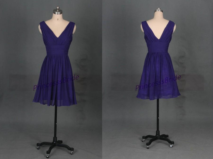 Wedding - Short grape chiffon bridesmaid dress in 2015,cute simple women dress for wedding party,cheap v-neck prom gowns under 100.