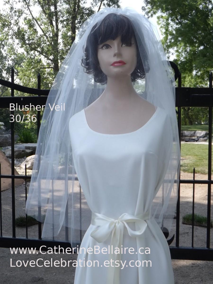 Hochzeit - Blusher Veil 30/36 - Raw Edge - Waist Fingertip Bridal Veil - Two Tier Plain Veil - 2T Veil - White Wedding Veil - Black Wedding Veil, Ivory