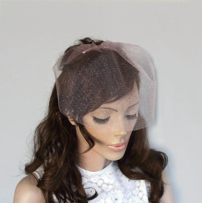 Pink Blusher Veil Mini Bridal Veil Alternative Wedding Unusual Tulle Modern  Hair Fascinator Romantic Wedding Handmade. 6815bb57f9f