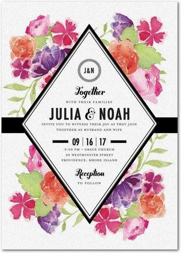 Wedding - Blossoming Gem - Shimmer Wedding Invitations In White Or Chenille