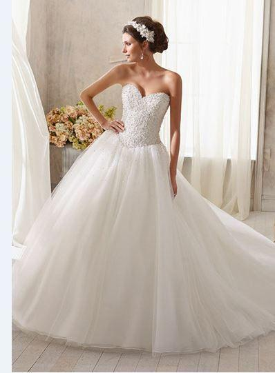Wedding - New 2016 Sweetheart Wedding Dresses Beads Pearls Bridal Gowns A-Line Wedding Dress Tulle Lace Up Online with $113.88/Piece on Hjklp88's Store