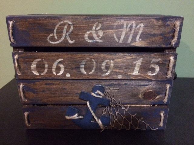 Mariage - Wood Nautical Card Box