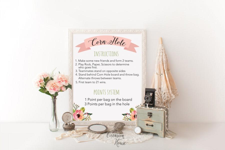 Свадьба - Printable wedding game sign, wedding lawn games sign, corn hole instruction sign, wedding game instruction, lawn game sign, Instant Download
