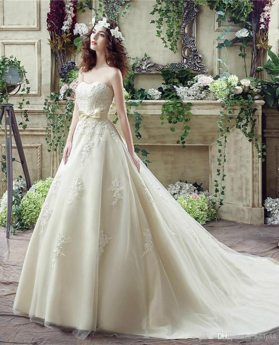 Wedding - Elegant Light Champagne Gowns Wedding Dresses 2016 Train Sweetheart Ribbons Sash Custom Appliques Sleeveless Tulle Bridal Ball Online with $106.81/Piece on Hjklp88's Store