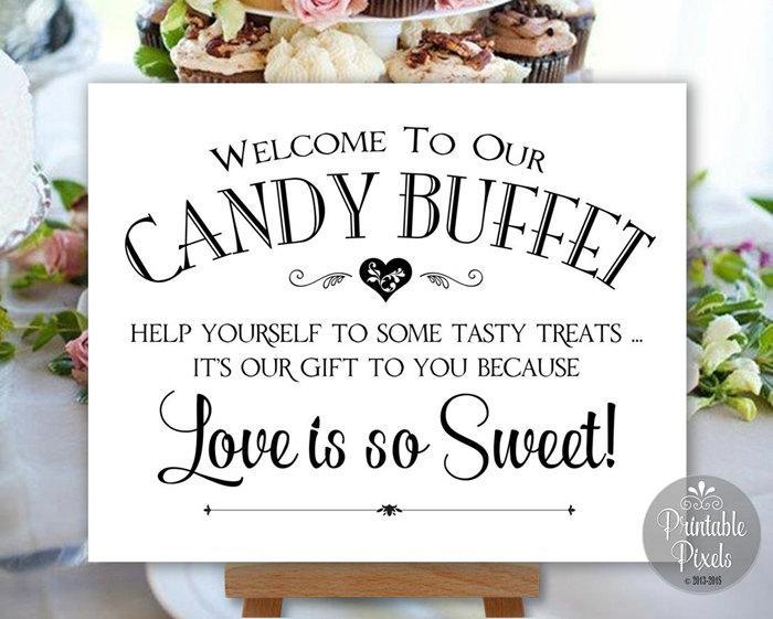 Свадьба - Candy Buffet Sign Printable Wedding Sign Digital Instant Download (#CBU1B)