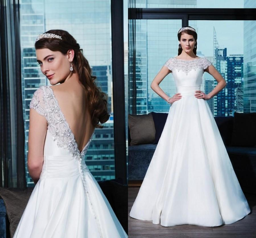 Wedding - Elegant Wedding Dresses 2016 Crystal Satin Backless Exquisite Beaded Luxury Cathedral Train Bridal Ball Gowns Custom Made Online with $112.31/Piece on Hjklp88's Store