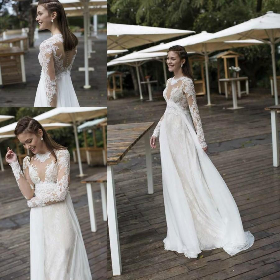 fb703f372e848 Simple Beach Summer Lace Wedding Dresses Long Sleeves Sheer Illusion ...