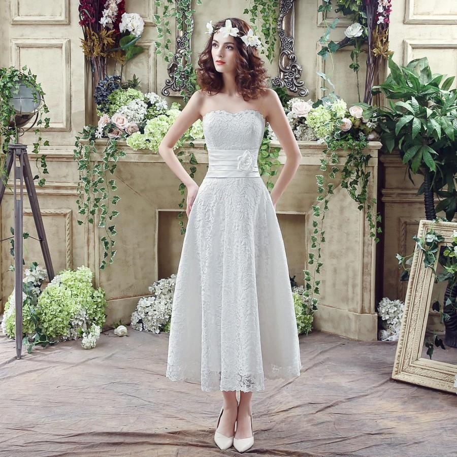 Lovely short wedding dresses garden 2016 sweetheart sash for Where to buy cheap wedding dresses online