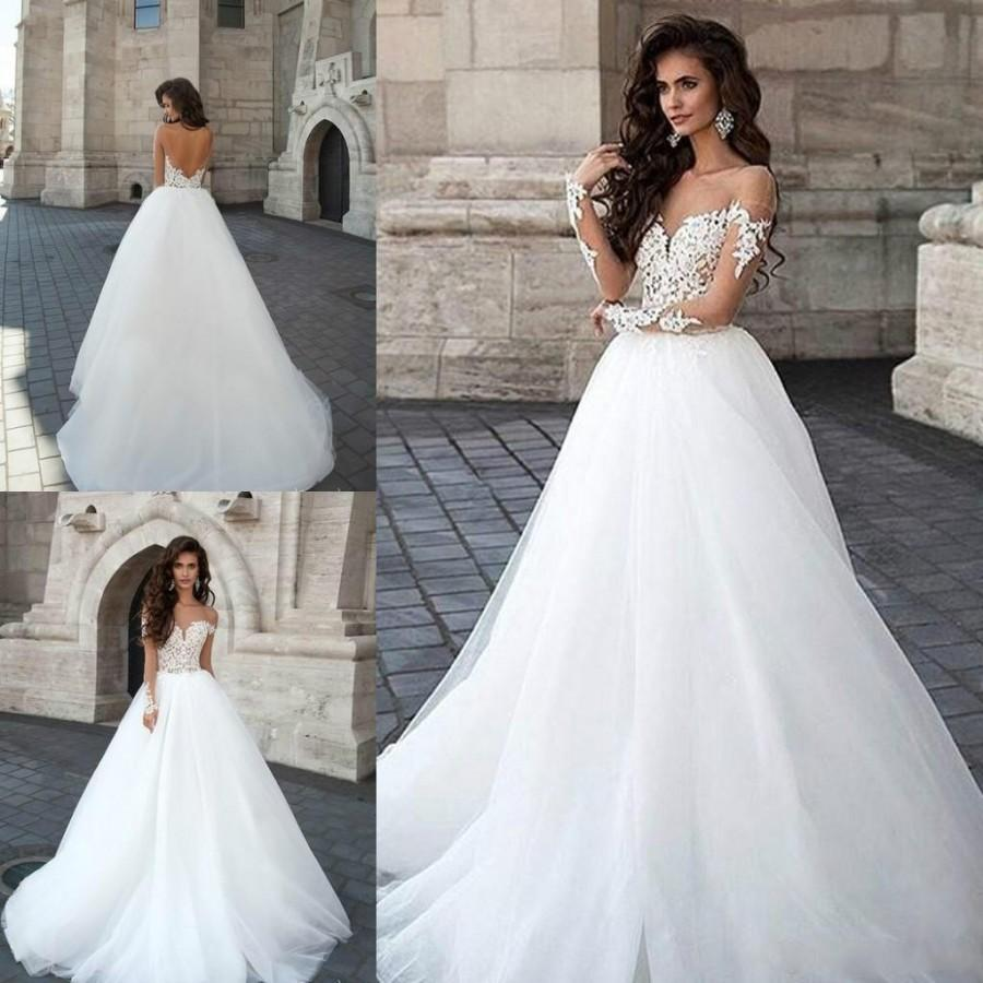Romantic sheer lace wedding dresses with see through neck for Lace sleeve backless wedding dress