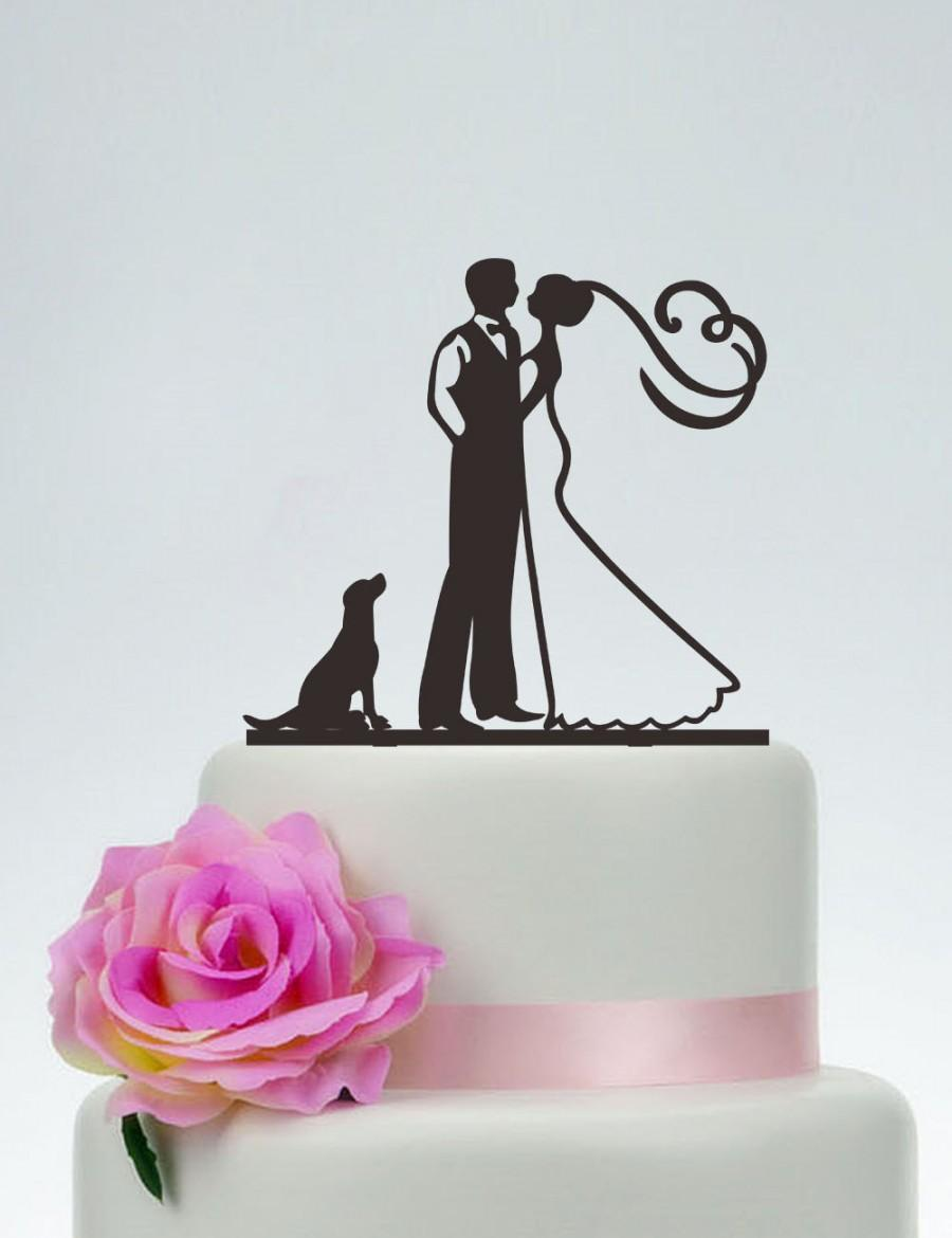 Свадьба - Groom And Bride Cake Topper with the dog,Wedding Cake Topper,Custom Dog Cake Topper,Couple Silhouette, Acrylic,Personalized Cake Topper P142